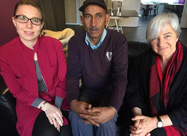Gruppbild: Alice Panepinto, Eid Abu Khamis, Angela Godfrey-Goldstein