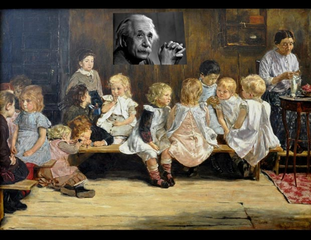 Collage skolbild och Einstein-